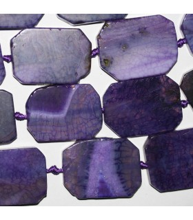 Purple Agate Smooth Rectangle 42x32mm.-Strand 40cm.-Item.9407