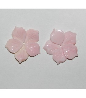 Natural Pink Shell Leaf Pendant ( 1 Pair ) 22mm.-Item.9475