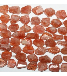 Sunstone Faceted Nugget 10-12mm.Approx.-Strand 35mm.-Item.9522