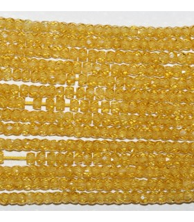 Yellow Cubic Zirconia Faceted Rondelle 3x2mm.Strand 40cm.-Item.9538