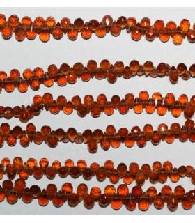 Granate Espesartita Gota Facetada 6x4mm.-Hilo 23cm.-Ref.9579