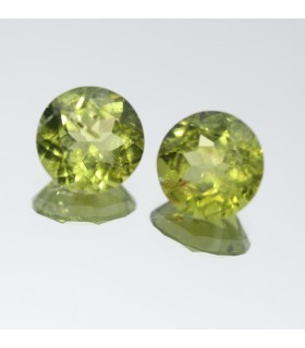 Peridoto Redondo Facetado ( 5.3CT ) 1 Pareja 9mm.-Ref.007PE