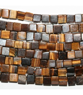 Tiger Eye Smooth Cube 6mm.-Strand 39cm.-Item.9627