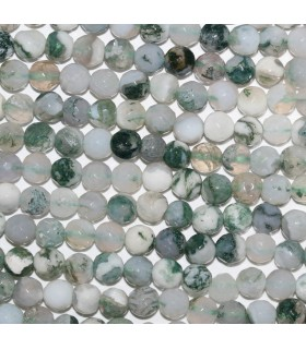Moss Agate Faceted Round Beads 6mm.-Strand 39cm.-Item.9672
