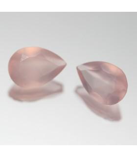 Calcedonia Rosa Gota Facetado ( 3.4 CT ) 1 Pareja 10x7mm.-Ref.051PE