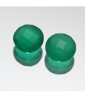 Green Onyx Faceted Round ( 1.5 CT ) 1 Pair 6mm.-Item.052PE