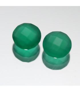 Onix Verde Redondo Facetado 1 Pareja 8mm.-Ref.052PE
