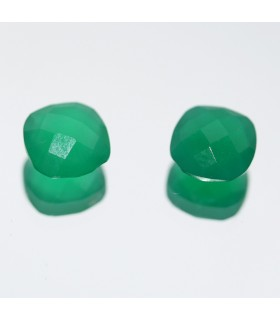 Green Onyx Faceted Square ( 3.4 CT ) 1 Pair 8mm.-Item.053PE