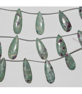Ruby Fuchsite Faceted Drop 30c12mm.Approx.-Strand 18cm.-Item.9829