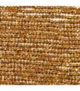 Gold Pyrite Faceted Rondelle 3x2.5mm.-Strand 33cm.-Item.9812
