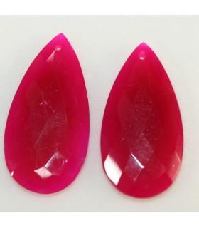 Fuchsia Calchedony Pair Drop 40x20mm Ref.10095