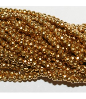 Gold Pyrite Faceted Round Beads 2mm.-Strand 33cm.-Item.9824