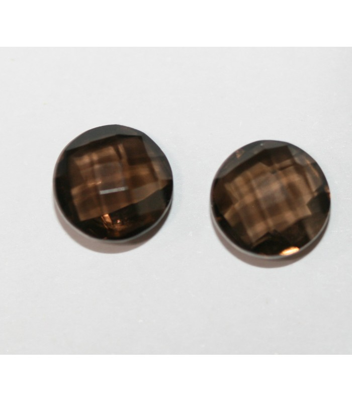 1 Pair Smoky Quartz Round 8mm Briolette Cut Double Checker 8mm. Ref 100PE