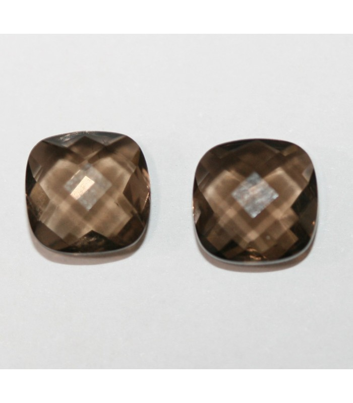 1 Pair Smoky Quartz Square 8mm Briolette Cut Double Checker 8mm. Ref 101PE