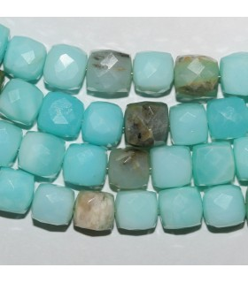 Blue Opal Faceted Cube 8mm-Strand 20cm.-Item.9850