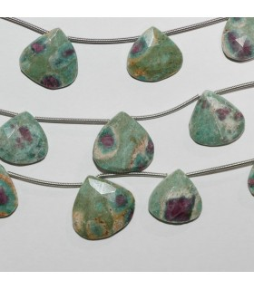 Ruby Fuchsite Faceted Drop 13-18mm.Approx.-Strand 18cm.-Item.9870