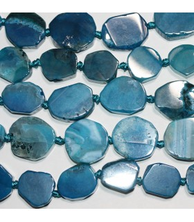 Agata Azul Oval Lisa 18-25mm.Aprox.-Hilo 40cm.-Ref.10045