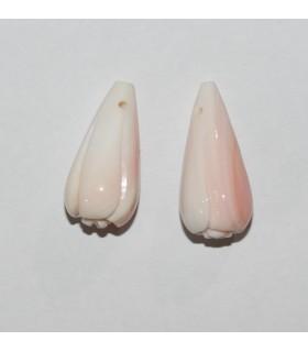 Colgante Concha Rosa Natural Gota Tallado ( 1 Par ) 22x10mm.-Ref.10076