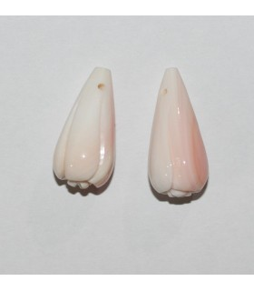 Natural Pink Shell Carved Drop Pendant ( 1 Pair ) 22x10mm.-Item.10076