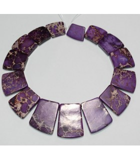 Purple Howlite Graduated Flat Rectangular 18x13-35x25mm.Approx.-Strand 35cm.-Item.10092