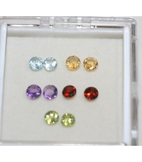 Lot Multi Stone Faceted Round 4mm.-Item .059PE