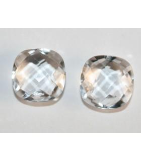 Pareja De Cuarzo Cristal DE Roca Talla Cojín Briolette Doble Damero 10mm Ref.118PE