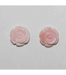 Pendiente Concha Rosa Natural flor Medio Taladro ( 2 Pares )-12mm.-Ref.10468