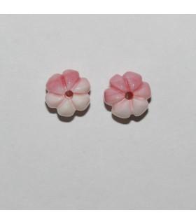 Colgante Concha Rosa Natural Barril Tallado( 1 Par ) 9x8mm.-Ref.10470