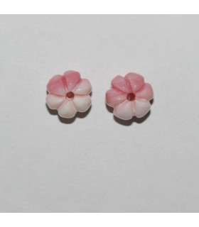 Natural Pink Shell Carved Barrel Pendant( 1 Pair ) 9x8mm.-Item.10470