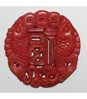 Colgante Jade Rojo 68mm.-Ref.1068JR