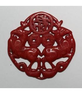 Colgante Jade Rojo 69mm.-Ref.1071JR