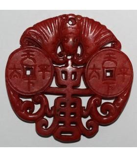 Colgante Jade Rojo 66mm.-Ref.1072JR