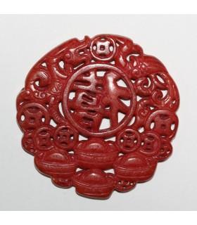 Colgante Jade Rojo 68mm.-Ref.1076JR