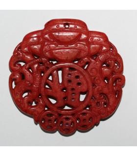 Colgante Jade Rojo 68mm.-Ref.1077JR