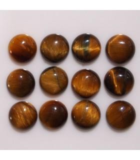 Cabujon Ojo de Tigre Redondo 6 mm. (12 piezas).- Ref: 619CB