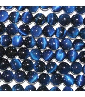 Ojo De Tigre Azul Bola Lisa 6mm.-Hilo 39cm.-Ref.10155
