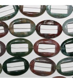Indian Agate Smooth Oval 32x22mm.-Strand 40cm.-Item.10265