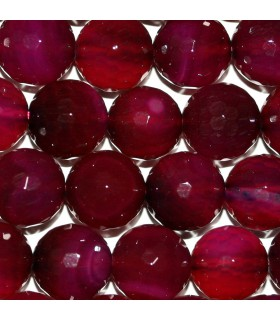 Fuchsia Agate Faceted Round Beads 12mm.-Strand.38cm.-Item.10281