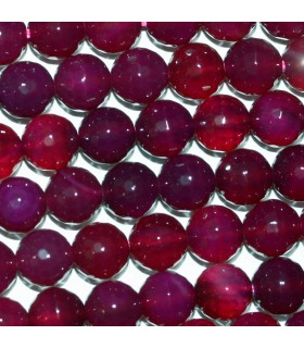 Fuchsia Agate Faceted Round Beads 8mm.-Strand.38cm.-Item.10283