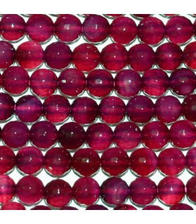 Fuchsia Agate Faceted Round Beads 6mm.-Strand.38cm.-Item.10284