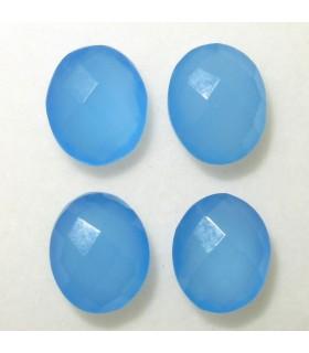Lote Calcedonia Azul Oval Facetado 12x10 mm. (4 piezas).- Ref: 031LO