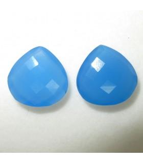 Lote Calcedonia Azul Gota Facetado 16 mm. (2 piezas).- Ref: 036LO