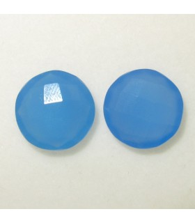 Lot Blue Calchedony Faceted Round 14 mm. (2 pcs).- Item: 037LO