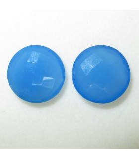 Lot Blue Calchedony Faceted Round 16 mm. (2 pcs.).- Item: 038LO