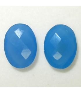 Lote Calcedonia Azul Oval Facetado 16x12 mm. (2 piezas).- Ref: 039LO