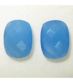 Lote Calcedonia Azul Rectangular Facetado 16x12 mm. (2 piezas).- Ref: 040LO