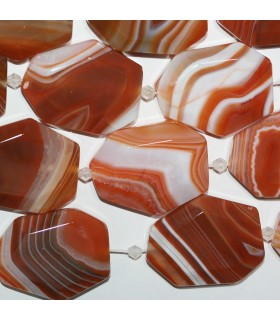 Carnelian Striped Faceted Oval 35x27mm.-Strand 38cm.-Item.10297
