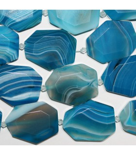 Blue Striped Agate Faceted Oval 35x27mm.Approx.-Strand 38cm.-Item.10298