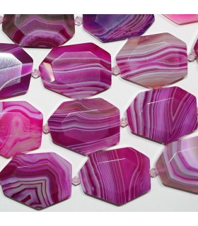 Fuchsia Striped Agate Faceted Oval 35x27mm.Approx.-Strand 38cm.-Item.10300