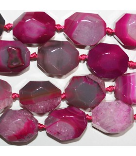 Fuchsia Striped Agate Faceted Nugget 27x20mm.Approx.-Strand 40cm.-Item.10304